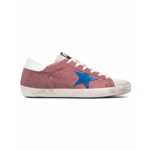 Golden Goose Pink Superstar Suede sneakers E74 PINK WHITE BLUE STAR [ Black Friday Clearance Sale ]