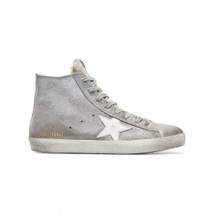 [ Clearance Sale ] Golden Goose silver Sheepskin lined suede high top sneakers SILVER